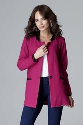 Fuksja elegancka kurtka na stójce z detalami z eko-skóry