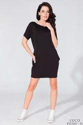 Czarna Prosta Mini Sukienka z Kieszeniami