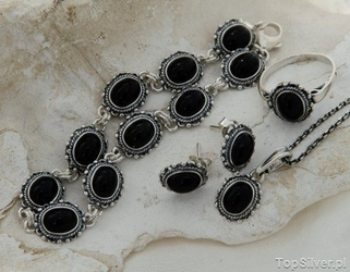 Kerma - srebrny komplet z onyksem