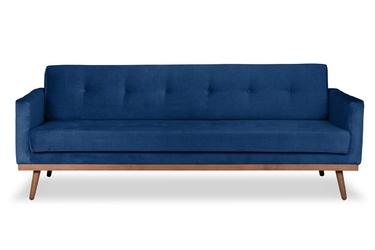 Sofa klematisar z funkcją spania welurowa 3-osobowa  deluxe - welur łatwozmywalny indigo