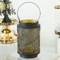 Latarenka  latarnia  lampion ozdobny wiszący metalowy altom design czarno - złota 9,5 x 9,5 x 15 cm