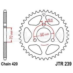Zębatka tylna stalowa jt 239-47, 47z, rozmiar 420 2300018 honda mbx 80