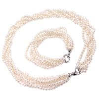 Asami komplet biżuterii białe perły naszyjnik bransoletka