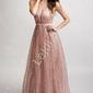 Połyskująca różowa sukienka brokatowa z trenem 2179