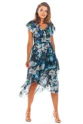 Granatowa kopertowa sukienka midi w kwiaty z falbanką