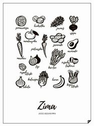 Plakat Zima - Jedz sezonowo 21 x 30 cm