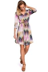 Rozkloszowana wzorzysta sukienka z guzikami - model 1