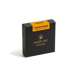 Mini bombonierka. praliny pomarańczowe - elegancki podarunek, 4 aksamitne parlinki na bazie rzemieślniczej czekolady, czekolada mleczna z pomarańczą, 100 naturalne składniki