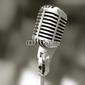 Plakat na papierze fotorealistycznym stary mikrofon