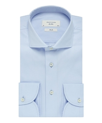 Elegancka błękitna koszula taliowana slim fit z włoskim kołnierzykiem 43