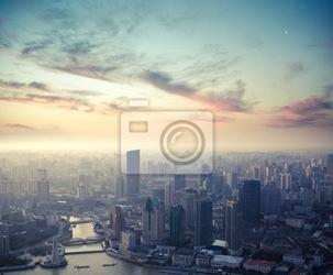 Fototapeta shanghai o zmierzchu