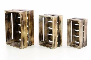Zestaw 3 skrzyń drewnianych