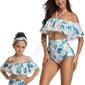 Bikini dla mamy i córki - hiszpanka z pomponikami z wysokim stanem
