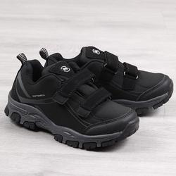 Buty trekkingowe wodoodporne na rzep american club - czarny  szary