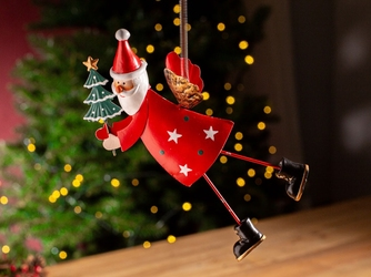 Ozdoba świąteczna na choinkę  zawieszka choinkowa metalowa altom design mikołaj na sprężynie