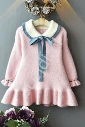 Różowa ciepła elegancka sukienka dla dziewczynki, jak kaszmir 026