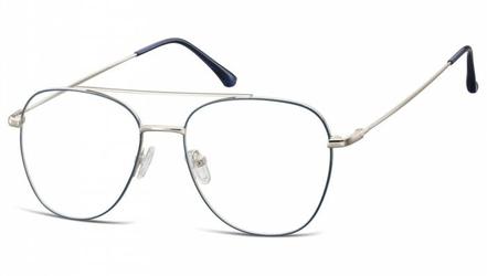 Oprawki okulary  pilotki zerówki korekcyjne 922f granatowo-srebrne