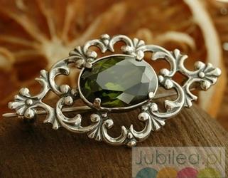 Fauno - srebrna broszka z oliwinem