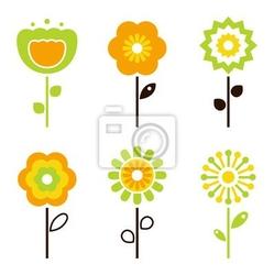 Naklejka zestaw retro elementów kwiatów na wielkanoc  wiosna