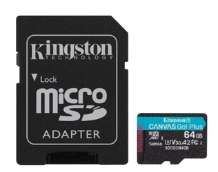 Kingston karta microsd  64gb canvas go plus 17070mbs adapter