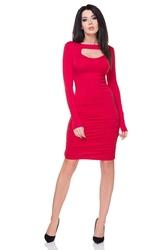 Czerwona sukienka bodycon z wycięciem