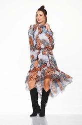 Zwiewna sukienka asymetryczna z falbankami we wzory druk 3