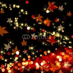 Obraz na płótnie canvas czteroczęściowy tetraptyk Jesienne liście tańczą w ciemności