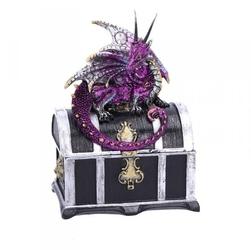 Fioletowy smok na skrzyni skarbów - szkatułka