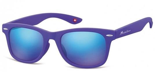 Okulary przeciwsłoneczne lustrzanki dziecięce nerdy  montana 965f fioletowe matowe