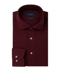 Elegancka bordowa koszula męska z dzianiny slim fit 42