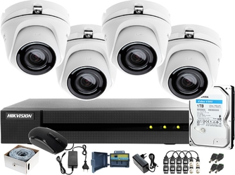 Zestaw do monitoringu po skrętce z 4 kamerami do firmy, hurtowni hikvision hiwatch hwd-6104mh-g2, 4 x hwt-t120-m, 1tb, akcesoria