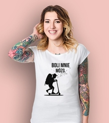 Chłopak - boli mnie mózg. t-shirt damski biały m