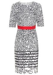 Sukienka ołówkowa bonprix czarno-biel wełny-czerwony w kropki