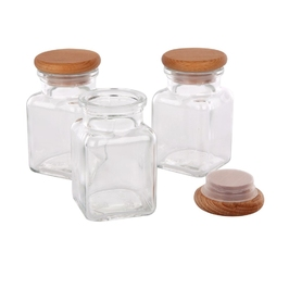 Pojemnik na przyprawy i produkty sypkie  do przechowywania practic szklany 150 ml, komplet 3 szt.