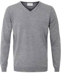 Sweter  pulower v-neck z wełny z merynosów szary s
