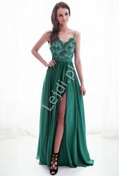 Szałowa sukienka wieczorowa na cienkich ramiączkach, butelkowo zielona 2174