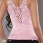 Jasno różowa koszulka z koronką, top damski 00p5