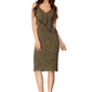 Khaki sukienka midi z asymetryczną falbanką