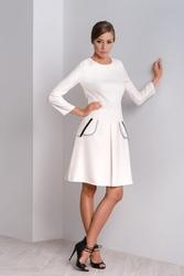 Sukienka z kontrafałdą w kolorze ecru clara