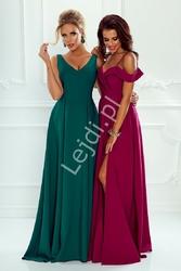 Sukienka dla druhny z odkrytymi ramionami ciemne wino - elizabeth