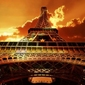 Wieża eiffel, zachód słońca - fototapeta