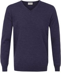 Sweter  pulower v-neck z wełny z merynosów w kolorze jasno fioletowym xl