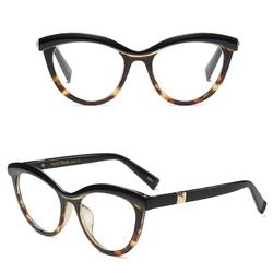 Okulary damskie kujonki zerówki. czarne brązowe - czarne brąz