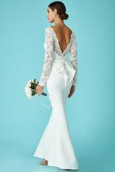Biała suknia ślubna z kokardą z tyłu, goddiva 987