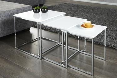 Trzyczęściowy zestaw stolików trio, biały