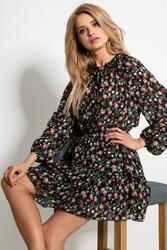 Czarny komplet w kwiatki bluzka i mini spódnica