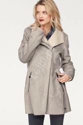 Damski jasnoszary płaszcz z imitacji zamszu z barankiem od wewnątrz ltb noreye