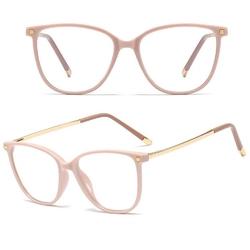Okulary damskie zerówki beżowe nerdy złote kujonki