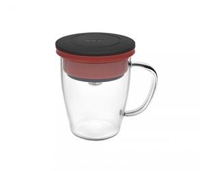 Kubek z zaparzaczem do kawy 350 ml pao duo dripper czarno-czerwony