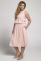 Łososiowa marszczona midi sukienka bez rękawów plus size
